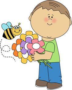 niño con flores y abeja