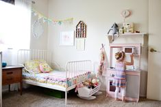 Feminine, Vintage-Modern Shared Toddler Room