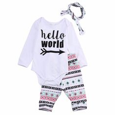 3pcs Baby Girl Clothes Sets Girl Clothes Outfits Hair Band Print Pattern (Long sleeve romper + hair band+Pant)