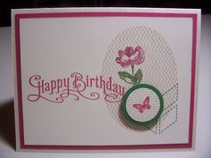Stampin Up! 'Oh, Hello' stamp set used with 'Perfectly Penned' happy birthday. http://nanakcreates.stampinup.net