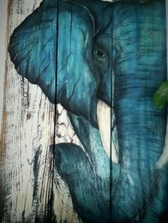 Boho Elephant art hand painted elephant Pallet sign made to