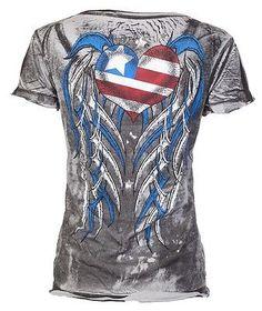 Archaic AFFLICTION Women T-Shirt AMERICAN LOVER Biker USA FLAG Sinful S-XL $40 b