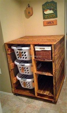 Doesn't a basket with the dirty clothes looks bad when placed in the bathroom? You can follow the laundry plan shown with the multiple shelves to store the clothes prior to washing them. The laundry plan will cover the clothes inside it and there are also spaces of basket fitting.