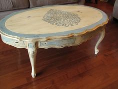 French Provincial Coffee Table painted in Cream and Duck Egg Annie Sloan Chalk Paint.
