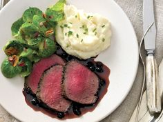 Peppered Venison Loin with Zinfandel Huckleberry Sauce