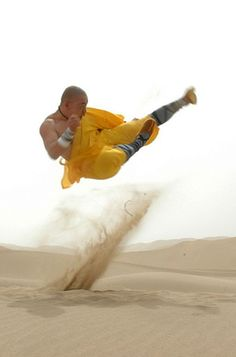 World martial arts China Shaolin Temple kungfu monk. What an awesome flying kick!