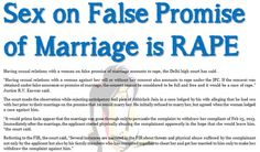 Sex on False Promise of Marriage is RAPE - Delhi High Court..