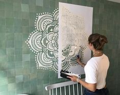 Mandala wall stencils DIY for home of work place decor. Mandala Ibiza wall stencils to pimp your home, garden, office, shop, restaurant or club! We have 8 different mandalas in different sizes from which you can choose! Stencils Mandala, Mandala Mural, Mandala On Wall, Diy Wand, Mur Diy, Tape Painting, Wall Drawing, Mandala Design, Paint Designs