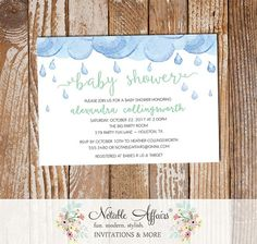 Mint Watercolor Rain Clouds Rain Drops Sprinkle Gender Neutral Baby Shower invitation - choose accent color only by NotableAffairs