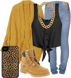 Black Button-Down Tie Front Shirt, Denim Jeans, Tan Cardigan, Gold Chain, Wheat Timbs, Leopard Print IPhone 5 Case