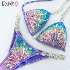 This stunning crystal competition bikini is custom made based on your height, bust size and forecast competition weight. Bling Bra, Rhinestone Bra, Bikini Competition Prep, Figure Competition, Fitness Competition, Lingerie Models, Luxury Lingerie, Bikini Workout, Bikini Fitness