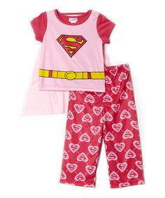 Look at this #zulilyfind! Pink Supergirl Pajama Set - Infant by Superman #zulilyfinds