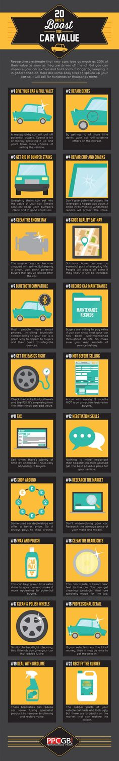 20 Ways to Boost Your Car Value #infographic #Cars #Transportation