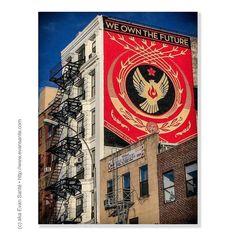 :: Transformation: A Wing & Prayer - #ShotOniPhone Location - Bowery - Lower East Side #NYC #NewYorkCity Subject - #UrbanArt #StreetArtNYC Artist - Shepard Fairey - We Own The Future Camera - Apple #iPhone6Plus #EvanSante