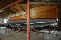 The sailing vessel  Motor Cutter Ranen II under resoration.   Nyksund, Norway