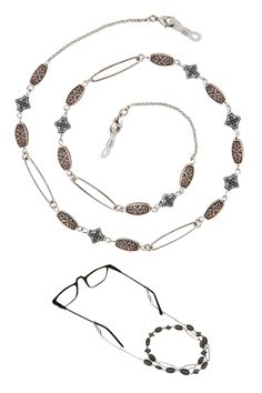 Gold Metal Chain Accented with Ornate… Lanyard Necklace, Beaded Necklace, Eyeglass Holder, Earring Backs, Eye Glasses, Metal Chain, Fine Jewelry, Shops, Community