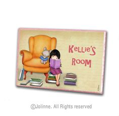 Personalized name door sign for girls room, reading room door hanger , library sign, classroom door sign