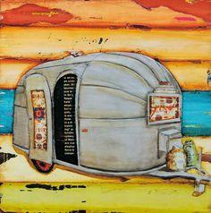 Airstream RV vintage retro camper at beach  by dannyphillipsart, $18.00