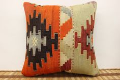 Wool vintage kilim pillow cover 16 x 16 by kilimwarehouse on Etsy, $50.00