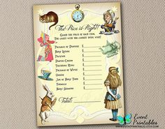 Alice in Wonderland Price is Right Game Card, Baby Shower Game in Yellow, Neutral, INSTANT DOWNLOAD by Event Printables
