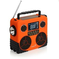 Solar Products For Camping - Camping For Foodies. Ivation Water-Resistant Solar- & Dynamo-Powered AM/FM/NOAA Radio, Bluetooth Stereo Speaker & Phone Charger - Rugged Design for Hiking, Camping, Construction Sites, Etc. http://www.campingforfoodies.com/solar-products-for-camping/