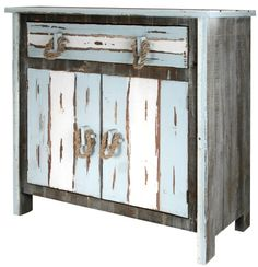 Rustic Distressed Wood Cabinet with Rope Handles... with Nautical Beachy Vibe: http://www.completely-coastal.com/2016/08/coastal-cabinets-and-chests.html