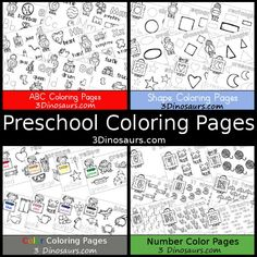 Preschool Coloring Pages on 3 Dinosaurs - ABCs, Numbers, Shapes & Color - 3Dinosaurs.com