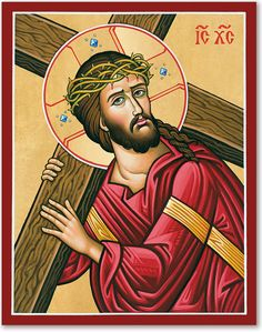 Monastery icons offers many deeply moving icons of Christ including this Christ Carrying the Cross icon, view them all today. Religious Images, Religious Icons, Religious Art, Orthodox Catholic, Catholic Art, Orthodox Christianity, Jesus Carrying Cross, The Last Supper Painting, Monastery Icons