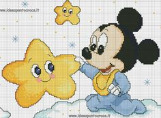 schemi punto croce disney, disney cross stitch Cross Stitch Letters, Just Cross Stitch, Cross Stitch Baby, Counted Cross Stitch Patterns, Cross Stitch Charts, Cross Patterns, Baby Mickey Mouse, Stitch Cartoon, Disney Colors