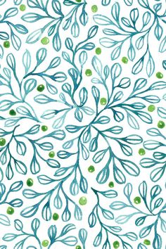 Blue Foliage fabric design. Part of Prairie beauty collection #spoonflower