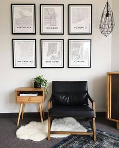 LOVE this styling by With our city map prints! Great inspo for anyone looking to create a travel inspired gallery wall. LOVE this styling by With our city map prints! Great inspo for anyone looking to create a travel inspired gallery wall. Travel Gallery Wall, Gallery Wall Art, Travel Wall Art, Gallery Wall Bedroom, Bedroom Wall, Bedroom Decor, Bed Room, Map Wall Decor, Map Wall Art