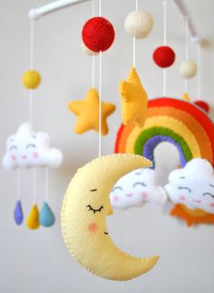 Baby mobile with rainbow, clouds, moon and stars by minimezShop on Etsy