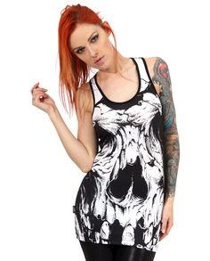 Liquor Brand Damen SKULL II Tank Tops. Oldschool,Rockabilly,Tattoo, Biker Style