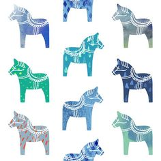 """""""For Minted's Fabric Challenge... Sweet little blue Dala Horses ;) love these!!"""" Photo taken by @mcmannessillustration on Instagram, pinned via the InstaPin iOS App! http://www.instapinapp.com (09/08/2014)"""