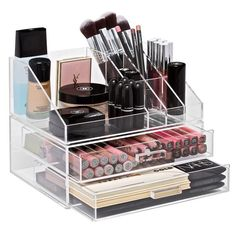 Store your brushes, foundations, powder, skincare and more in this Multi-Purpose Makeup Organizer. Designed to fit perfectly on top of our Two-Drawer Makeup Organizer. Make Up Organizer, Make Up Storage, Beauty Organizer, Storage Racks, Diy Makeup Vanity, Makeup Set, Makeup Ideas, Clown Makeup, Body Makeup