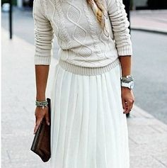 This pleated skirt and cable knit sweater are a dreamy match.