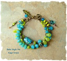 Boho Bracelet, Peridot and Lampwork Glass, Aqua and Lime, Colorful Multi-strand…