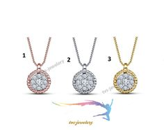 Cluster 2/5 Ct Round Diamond Women's Pendant In 14k Gold Over Sterling Silver #tvsjewelery #ClusterPendant