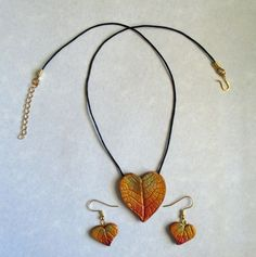 Heart fall leaf imprint necklace and earring set, in my etsy store at the time of this posting.