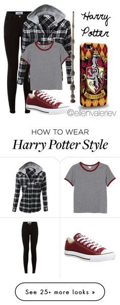"""""""HP Outfits: Harry Potter"""" by ellenvaleriev on Polyvore featuring Converse and Monki"""
