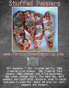 Stuffed peppers Banting Recipes, Stuffed Mushrooms, Stuffed Peppers, Blue Cheese, Cheddar, Feta, Sausage, Bacon, Low Carb