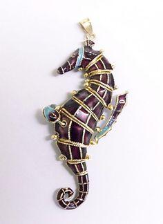 Enamel Seahorse pendant. Vintage Chinese by JewelryOnVintageLane, $124.00