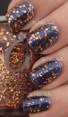 Navy and copper nails, glitter manicure