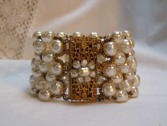 """1950's Miriam Haskell faux baroque pearl bracelet 1 3/4"""" wide"""