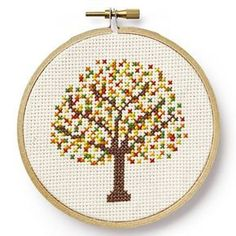 Country Living's Free Cross-Stitch Patterns Kostenlose Kreuzstichmuster von Country Living For the Home Fall Cross Stitch, Cross Stitch Tree, Simple Cross Stitch, Cross Stitch Charts, Cross Stitch Designs, Cross Stitch Patterns Free Easy, Cross Stitch Flowers, Cross Stitching, Cross Stitch Embroidery