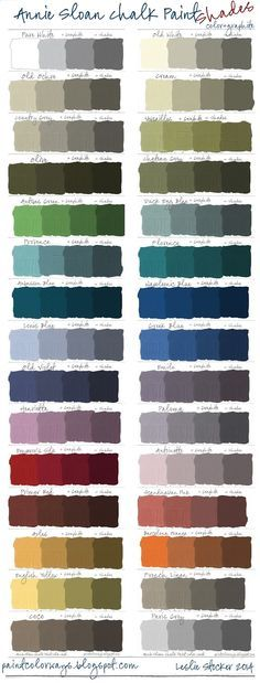 Easy color swatch comparison of Annie Sloan Chalk Paint and Valspar ...