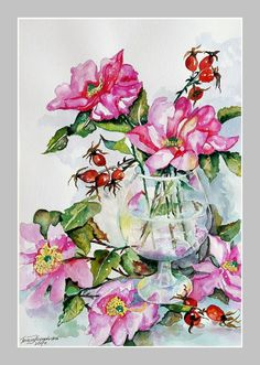 Dzikie róże (akwarela 2017r) autor: Teresa Kopańska