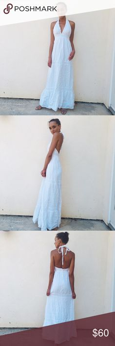 White Maxi Dress Beautiful white maxi dress by Guess featuring a halter neck tie. Guess Dresses Maxi