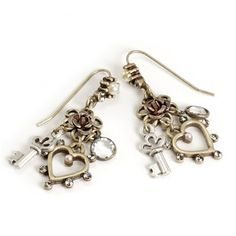 Rose, Key, Heart Earrings - E1062