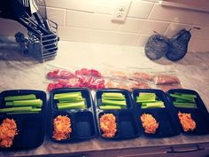 21 Day Fix approved Crockpot Buffalo Chicken, prepped and ready to go for the week!